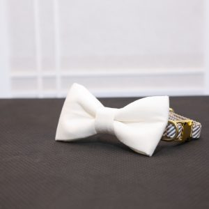 CLL White Dog Bow Tie