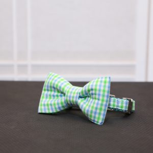 CLL Blue & Green Plaid Dog Bow Tie