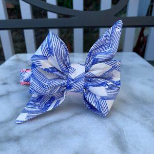 CLL Blue & White Sketchbook Belle Dog Bow Tie