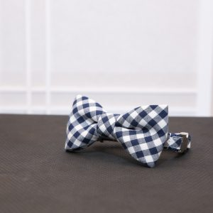CLL Blue Gingham Dog Bow Tie