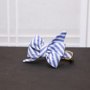 CLL Blue Stripe Belle Dog Bow Tie