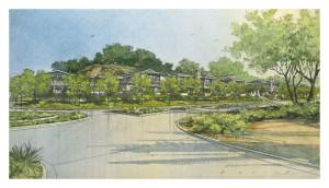 Corner view rendering of 38-home Community Response Alternative