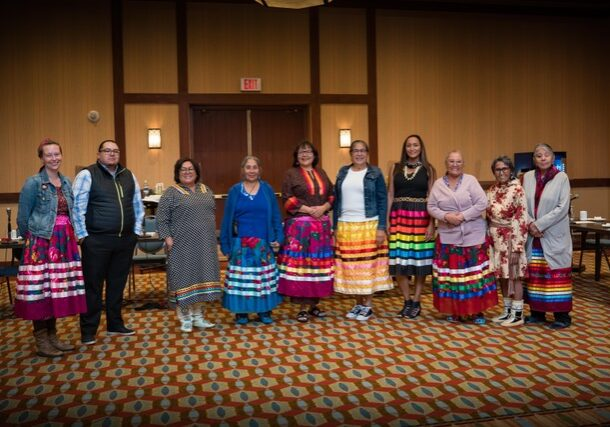 The committee members pictured are (L-R) : Christina Hardie, Rob Houle (Circle Keeper), Roxanne Tootoosis, Lynda Minoose, Noella Steinhauer, Lillian Crier, Terri Suntjens (Circle Keeper), Theresa Strawberry, Edna Elias, Beatrice Morin. Committee members not pictured are Daphne Alexis, Clarice Anderson, Carla Badger, Leona Makokis, Emily Riddle, Marilyn Lizee, Nicholle Weasel Traveller and Jodi Calahoo-Stonehouse.