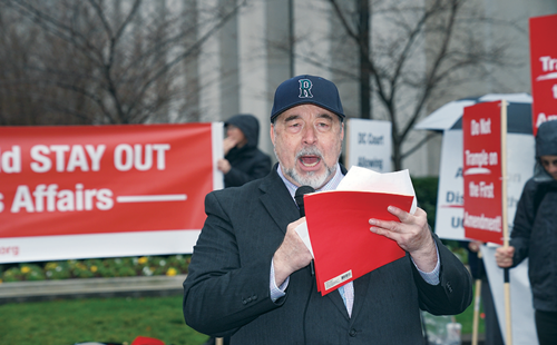 Howard C. Self protesting for religious freedom in front of the DC Superior Court.