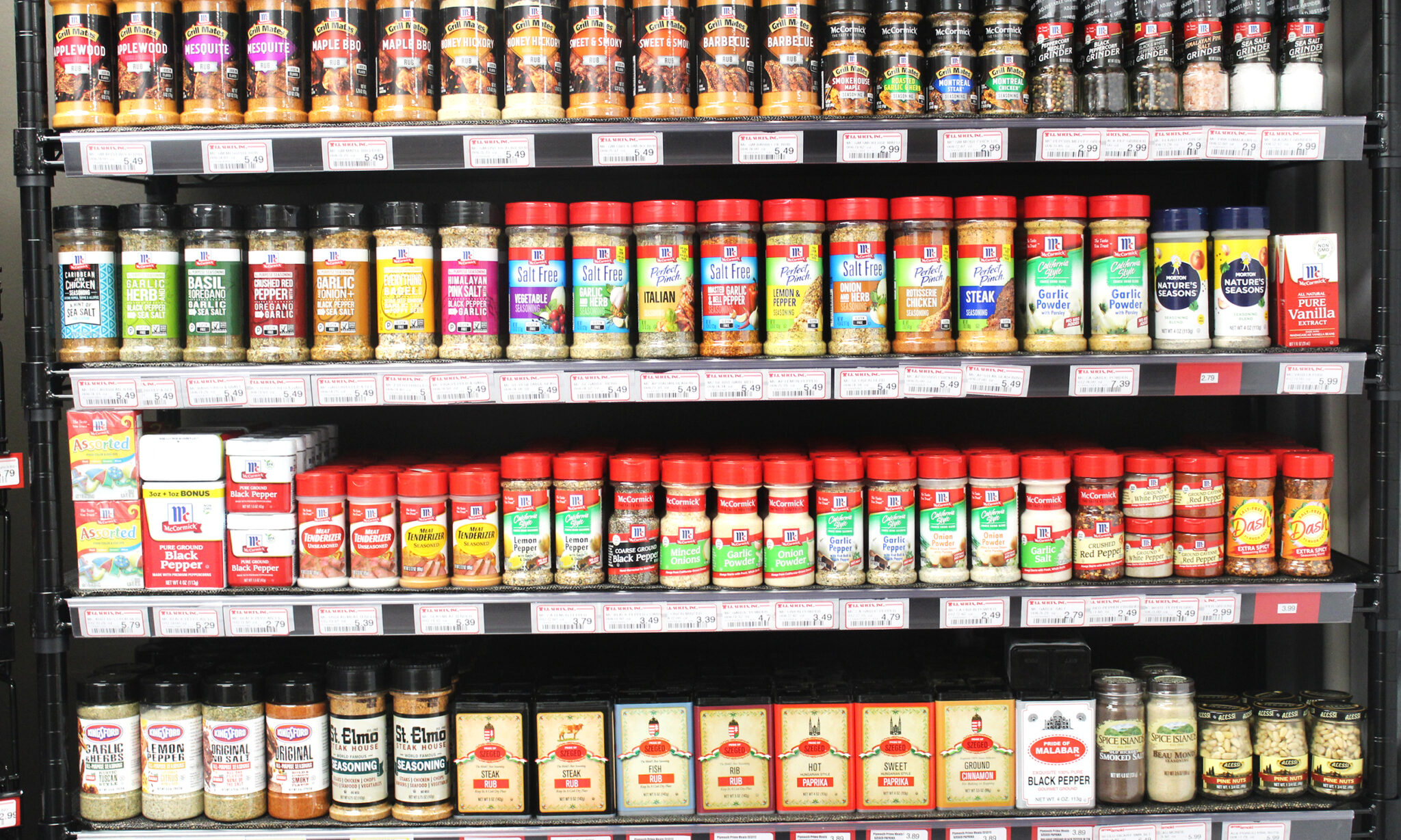 spice rack inside of the store