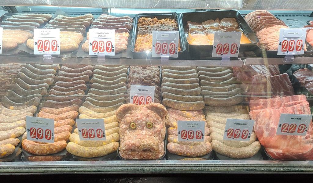 home-made sausage displayed behind the counter