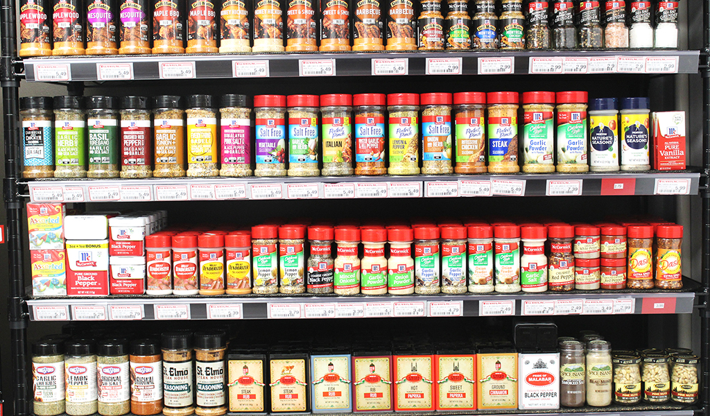 Assortment of spices and seasonings
