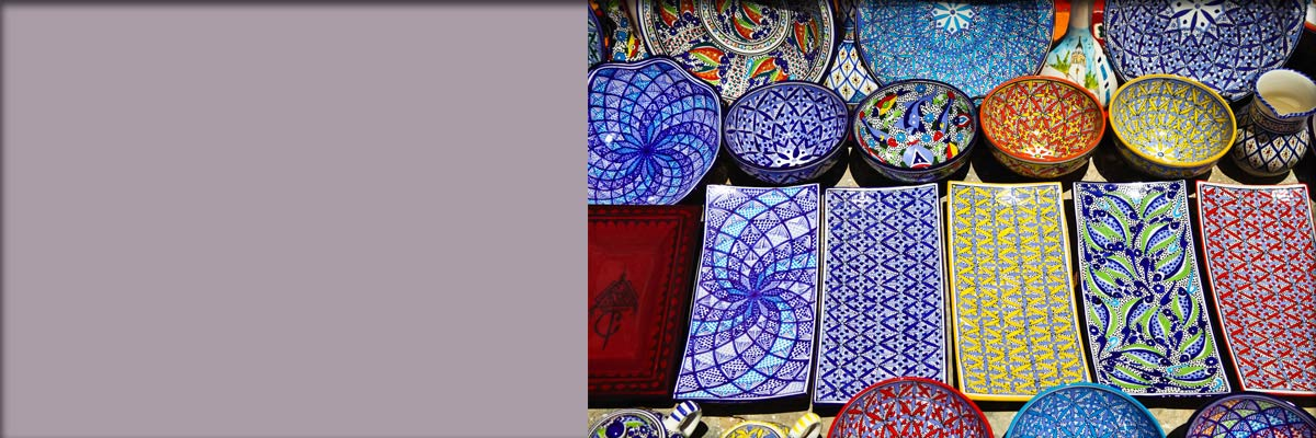 Bright colored pottery