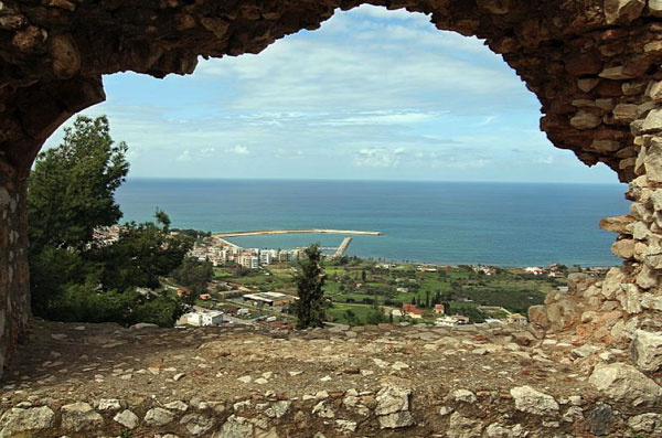 An area with a long olive oil making tradition - Her the view of the Ionian Sea from the ancient castle in Kyparissia.