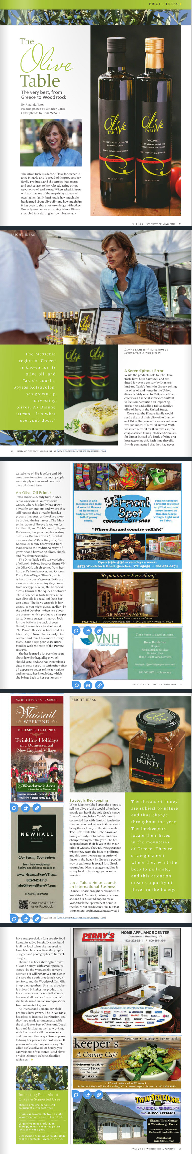 The Olive Table - Woodstock Magazine Article