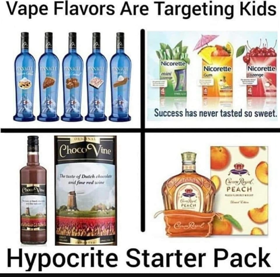 """Adults Like Flavors!                Why are Nicotine Based E-Liquids being singled out when we see so many examples that are considered """"acceptable""""."""