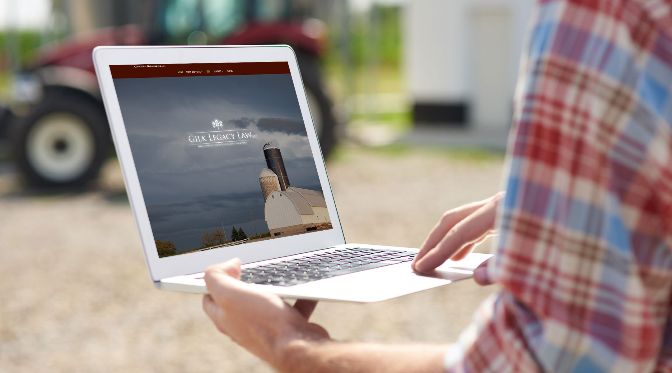 Farmer looking at a website.