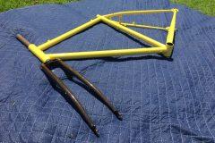 #40 Label Yellow Bike Frame with Chem Dip + #253 Supernova Sparkle  - Bike Fork