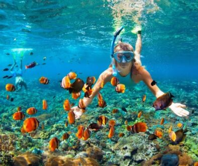 A woman is snorkeling at a beautiful reef.