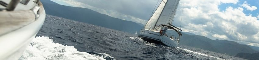 A landscape view of yacht sailing in the sea