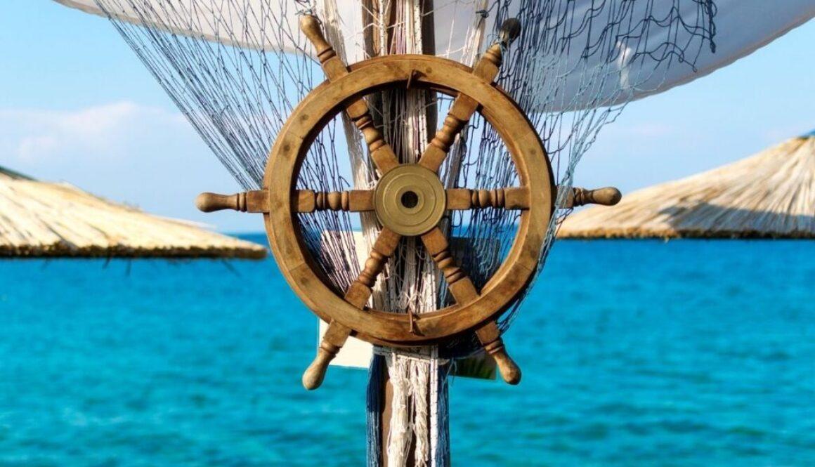 steering wheel of a boat