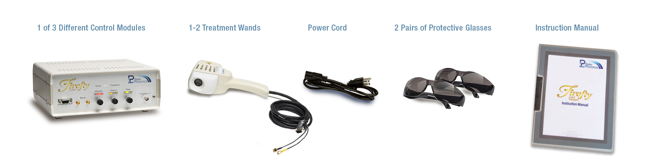 Firefly Light Therapy packages include one of 3 control units, a light wand, poer cord, sunglasses and a user manual
