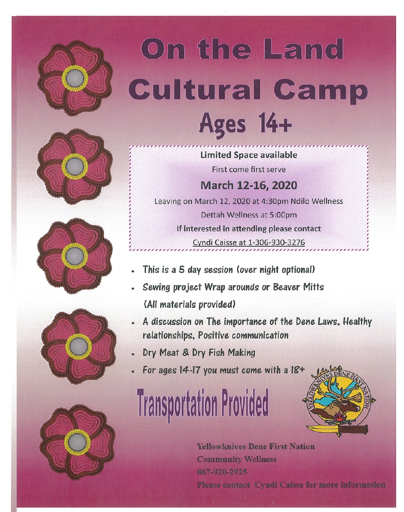 TEEN CULTURE CAMP MARCH 12 TO 16, 2020