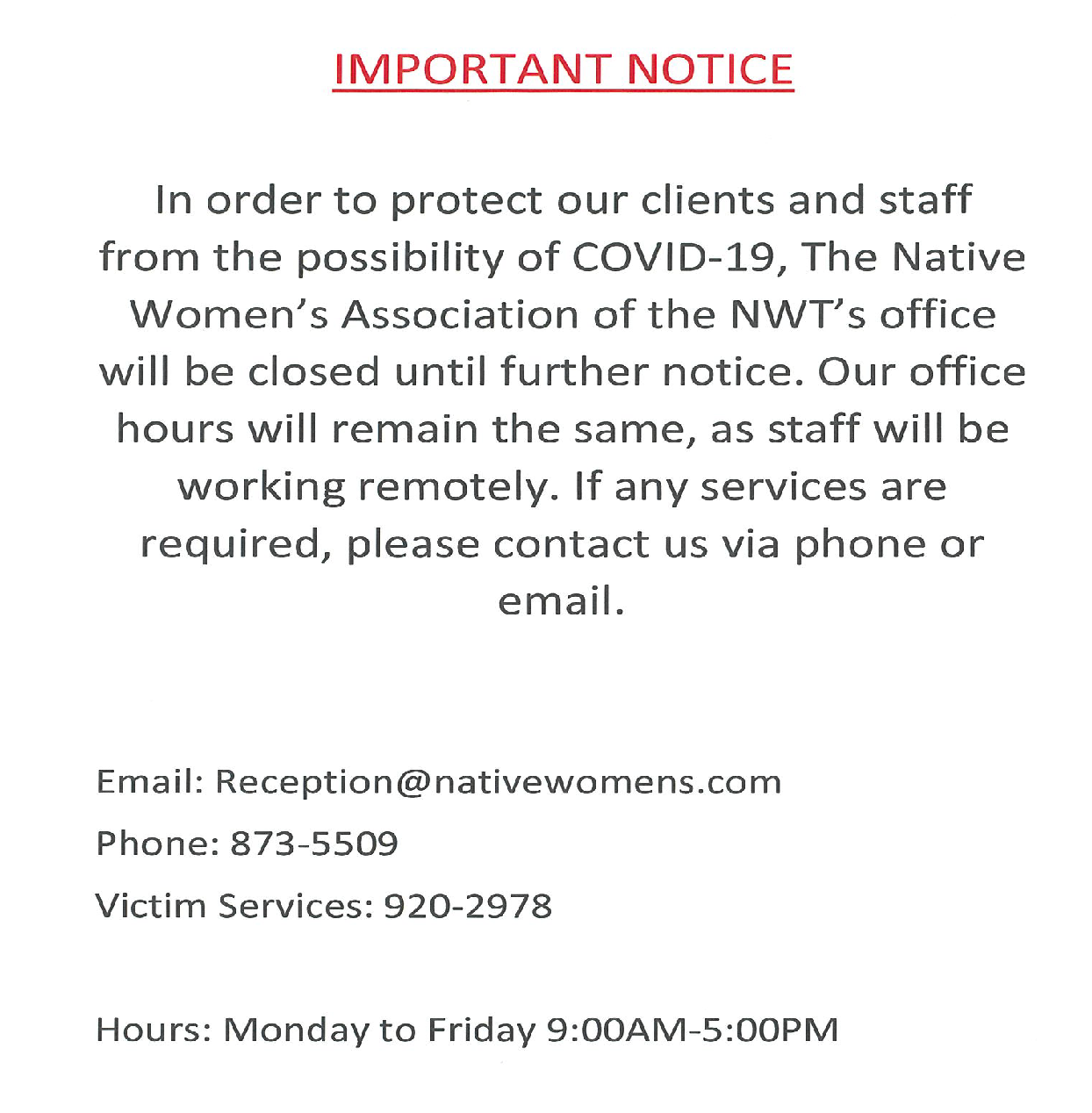 Important Notice To Our Clients March18,2020