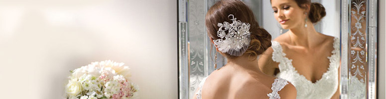 Bride looking at a mirror for bridal show button