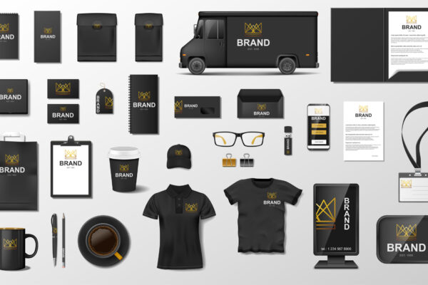 Corporate Branding identity template design. Modern Stationery mockup black and gold color. Business style stationery and documentation. Vector illustration EPS 10