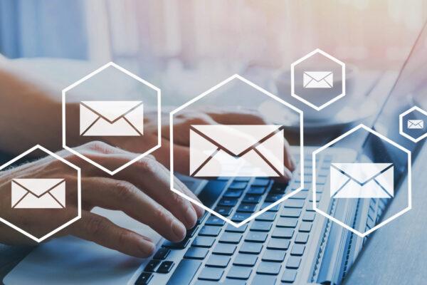 email marketing or newsletter concept, sending e-mails