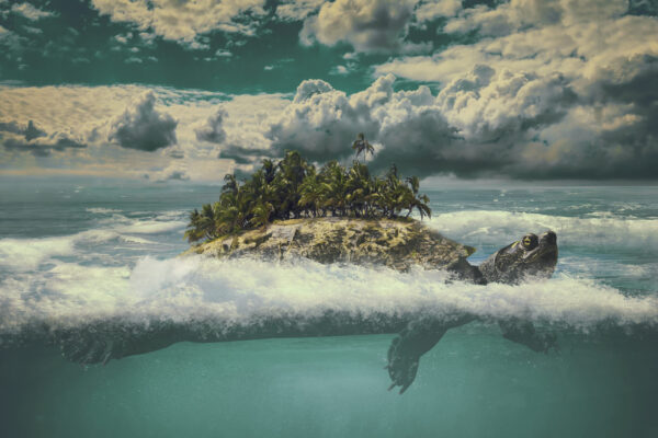 tropical moving island in the sea