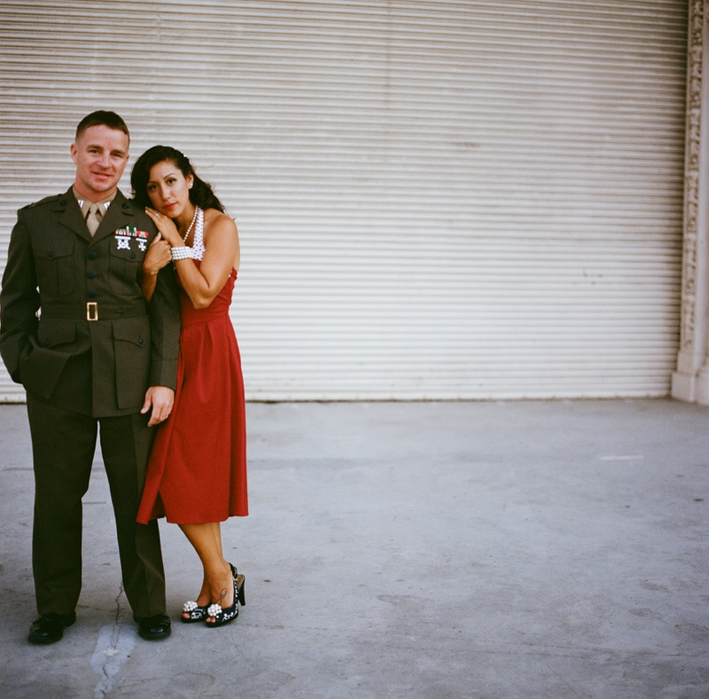 Vintage Military engagement session on film from San Diego wedding photographer Lauren Nygard