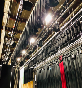 HEF helped purchase theater equipment on the ceiling in the auditorium