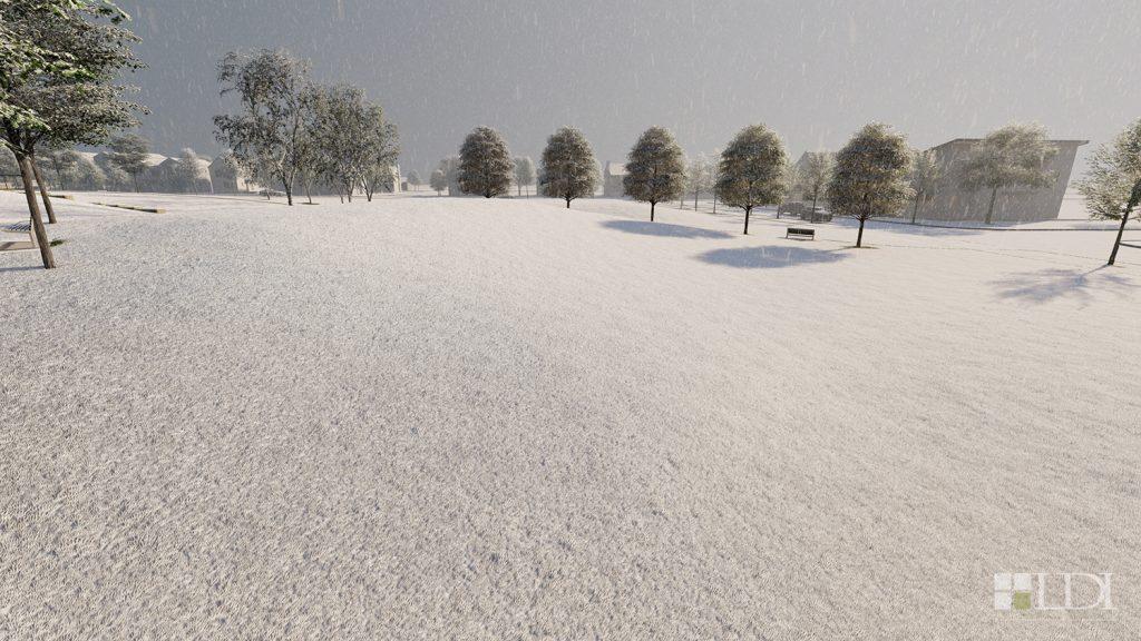 + A sloped area for winter sledding