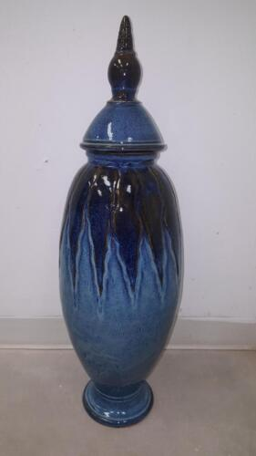 Blue Vase with Lid