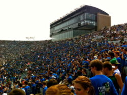 The Notre Dame Stadium holds 80,000
