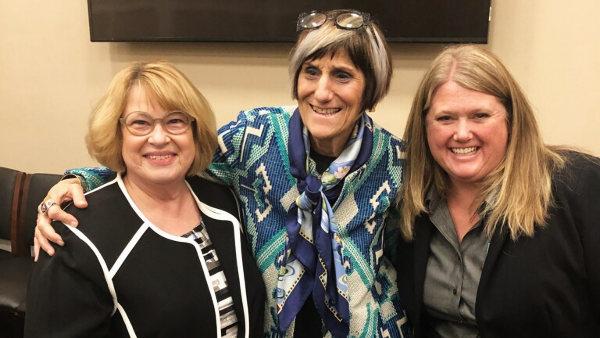 Paula Overfelt, Congresswoman Rosa DeLauro, of Connecticut, and Mindy Bateman, President Elect