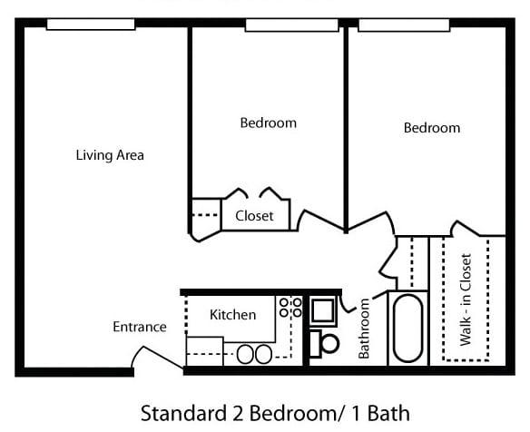 Standard 2 Bedroom/1 Bath