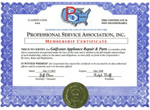 Gulfcoast Appliance Repair PSA License
