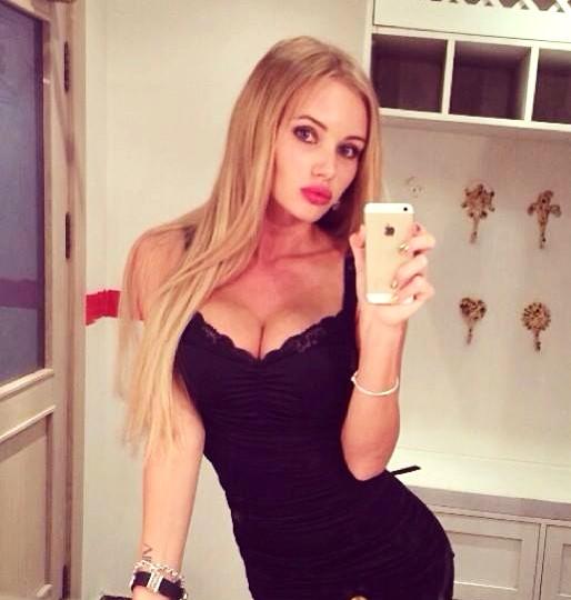 Olya Abramovich selfie black dress
