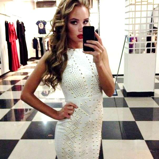 Olya Abramovich white dress