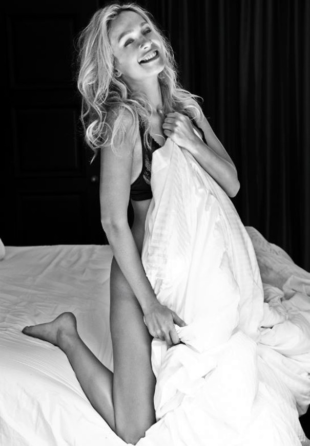 Karol Marie Morrison sexy bedroom black white