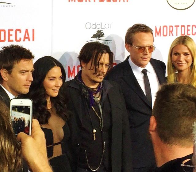 Mortdecai, Ewan McGregor, Olivia Munn, Johnny Depp, Paul Bettany, Gwyneth Paltrow, premiere
