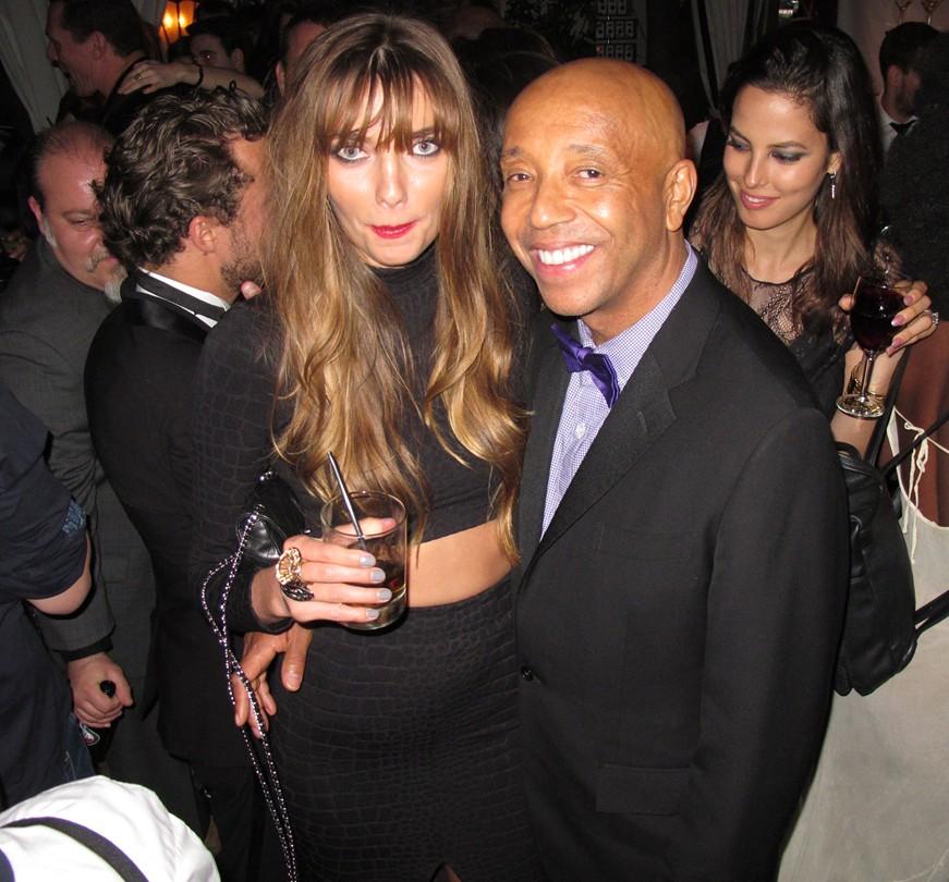 Warner Music Group Grammy party, Russell Simmons, Alina Baikova