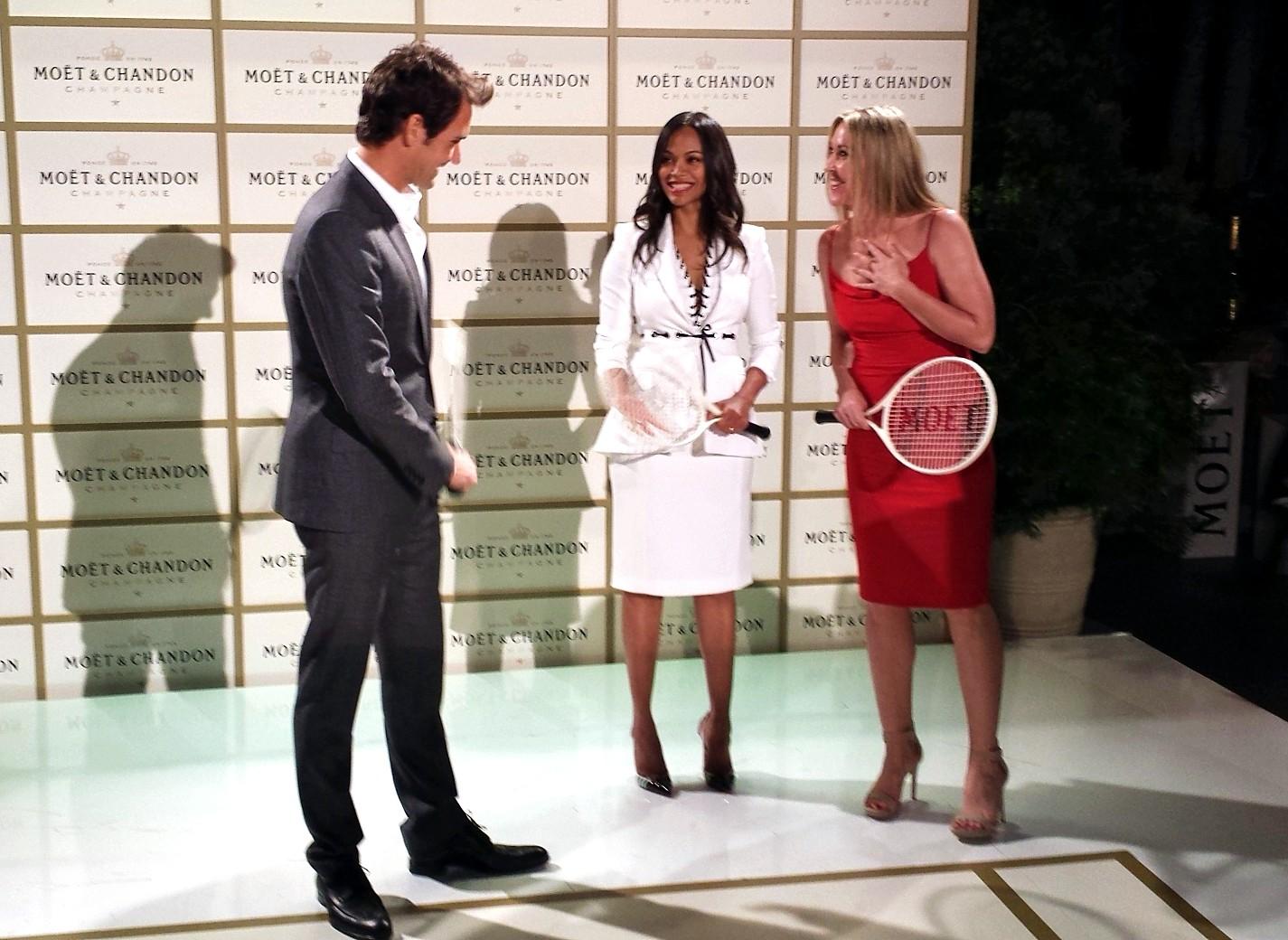 Moet Chandon, Roger Federer tribute, Zoe Saldana, Jill Montgomery