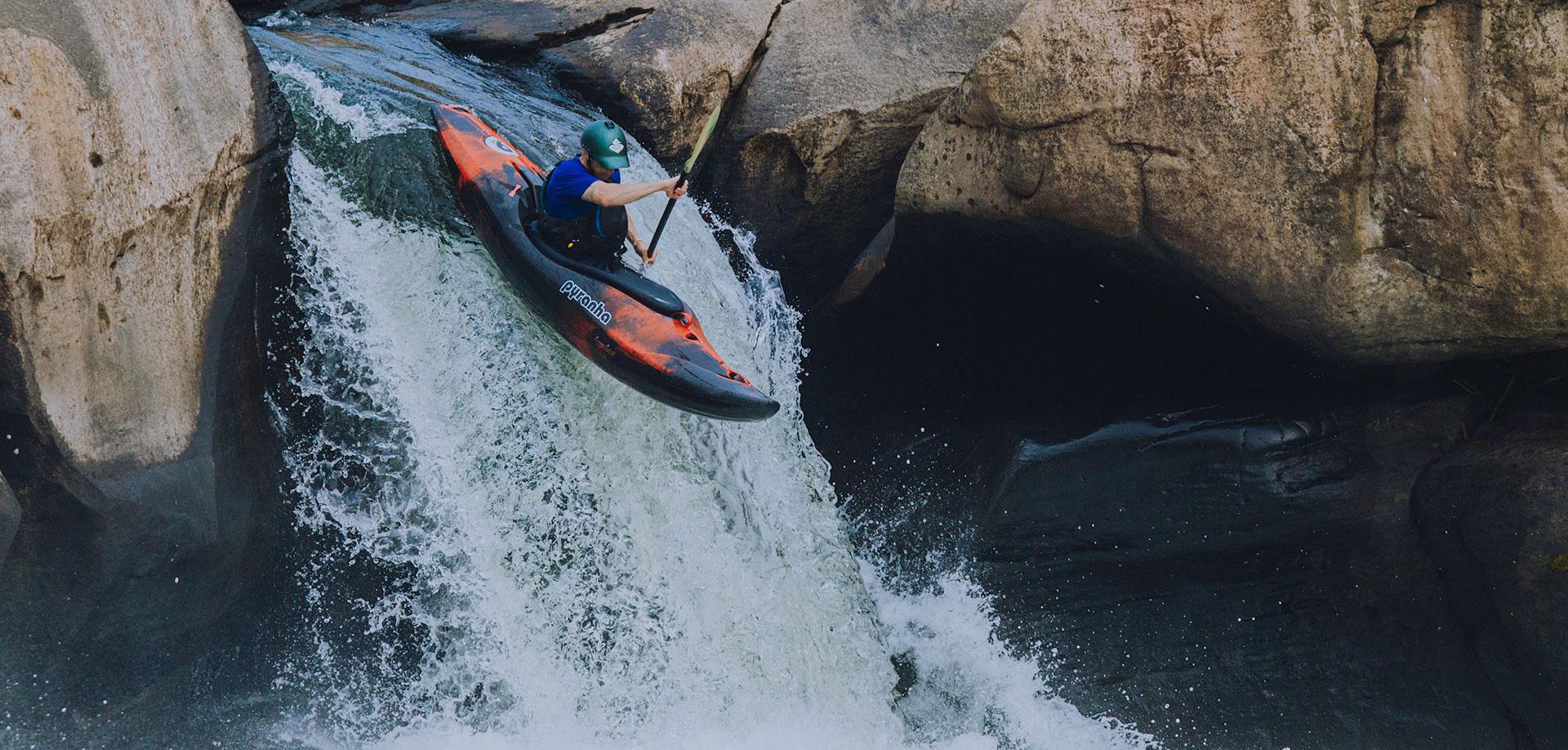 Kayaking down the falls.