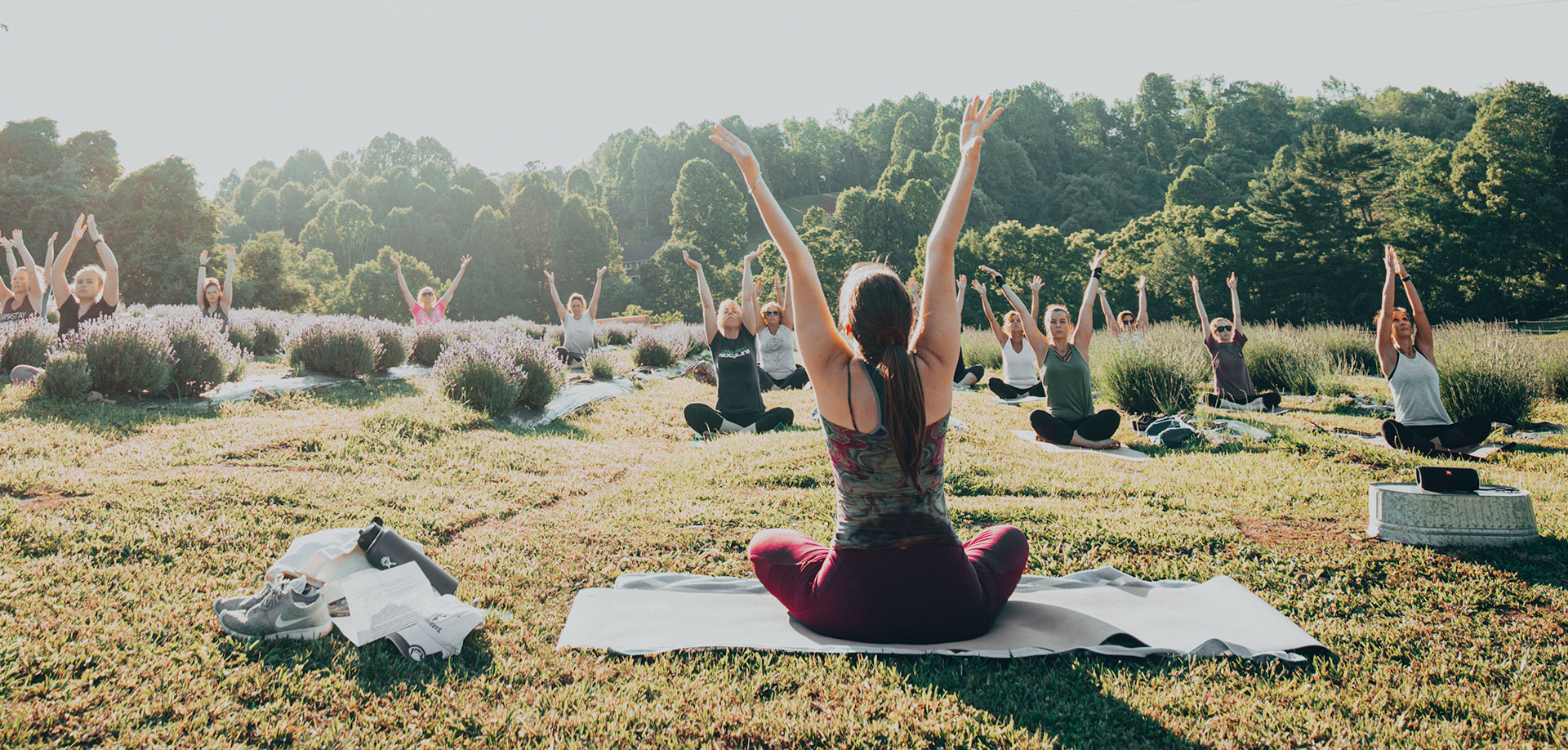 Yoga in a meadow.