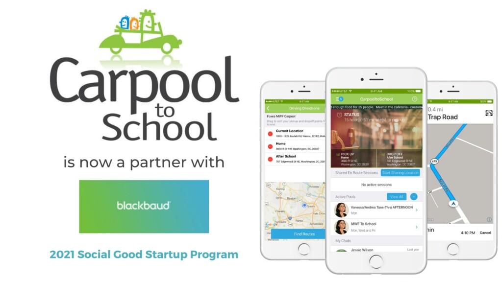 CarpooltoSchool is now a Blackbaud Partner!