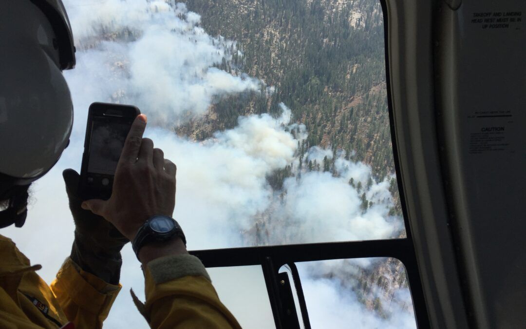 Helicopter surveillance wildfire Tulare County