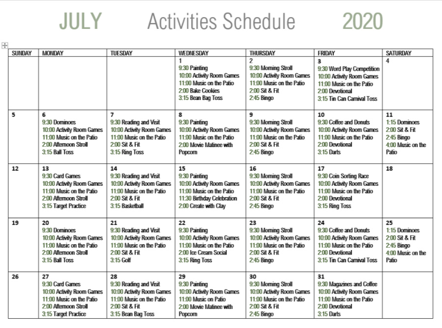 July Calendar of events for Live Oak Senior Care