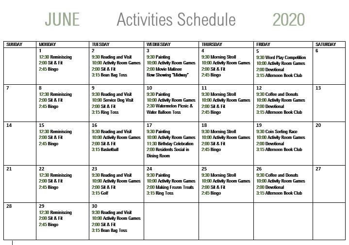 June Calendar of events for Live Oak Senior Care