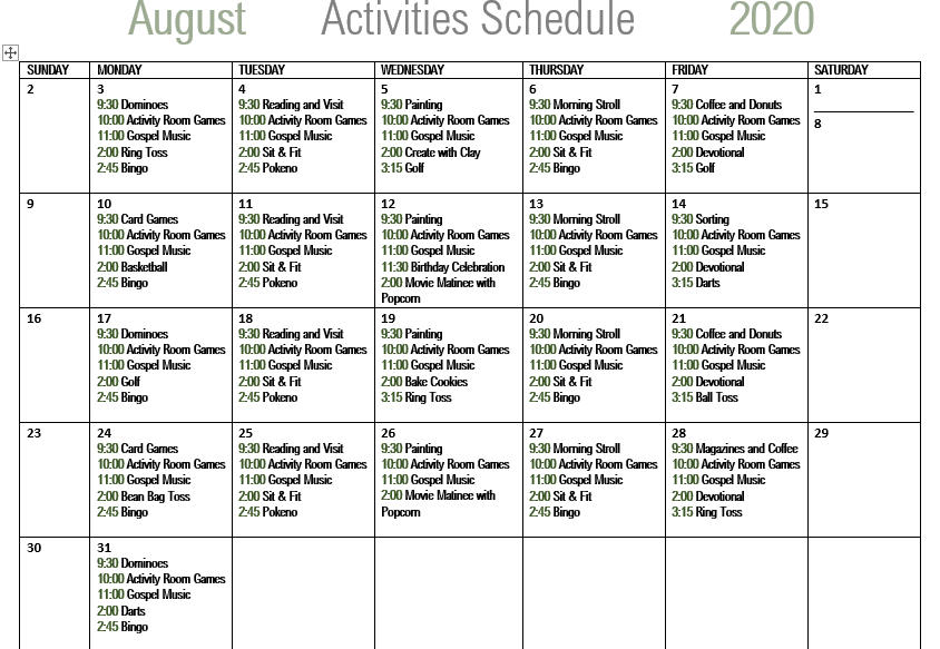 Live Oak Senior Care August 2020 Calendar