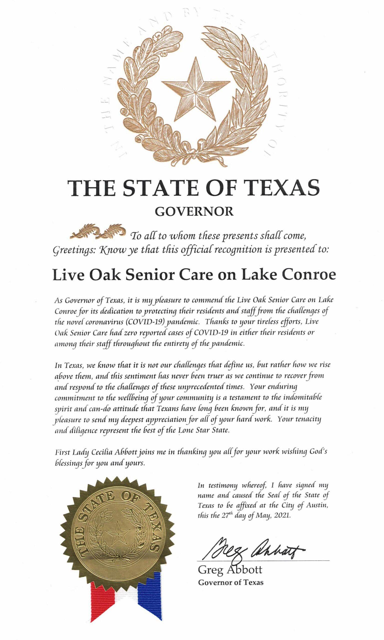 Texas Governor Abbott Commends Live Oak