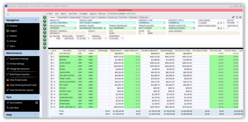 AccuDraw 7 Construction Loan Software Preview of Archive Feature for Construction Lending